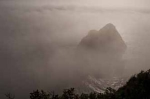 Fog, Rocky Promontory, Pacific Ocean, Mendocino Sea Coast, California, copyright 2012 by David Leland Hyde.