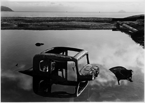 Sunken Car, Sausalito, Marin County, Alcatraz In Distance, San Francisco Bay, California, copyright 1948 by Philip Hyde. Made during photography school.