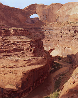 Stevens Arch, Escalante River, now Grand Staircase Escalante Natonal Monument, from Slickrock with Edward Abbey, Canyons, Utah, copyright Philip Hyde 1970. Made on backcountry backpack into Coyote Gulch.