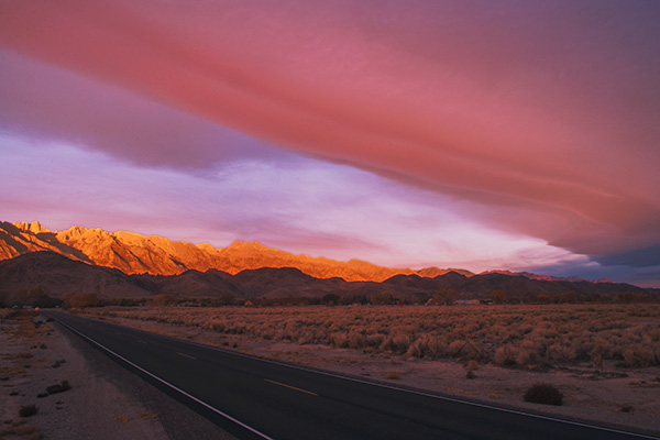 1. Sunrise Sierra Wave Cloud Over Lone Pine, Sierra East Side, California. I drove six hours to Lone Pine arriving at 2 a.m., but awakened energized only four hours later, looked out and saw the entire sky was blazing red with a huge Sierra Wave Cloud directly overhead. I immediately drove East toward Death Valley enough to include the mountains and Sierra Wave Cloud in one frame.