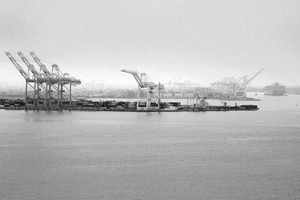 15. Oakland Harbor From Yerba Buena Island, San Francisco Bay, California. This side of Yerba Buena Island is a challenging place to make photographs as there is no place to park and the construction crews for the new Bay Bridge want to keep people away from the construction zone. However, I managed to squeeze out a few images of Oakland across the Bay receding into the mist.