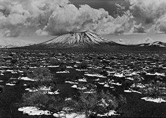 "Snow On Cinders And Cinder Cone, Nevada, copyright 1962 Philip Hyde. This was one of the images chosen for the SFO Museum show, ""Philip Hyde: Mountains And Deserts."""