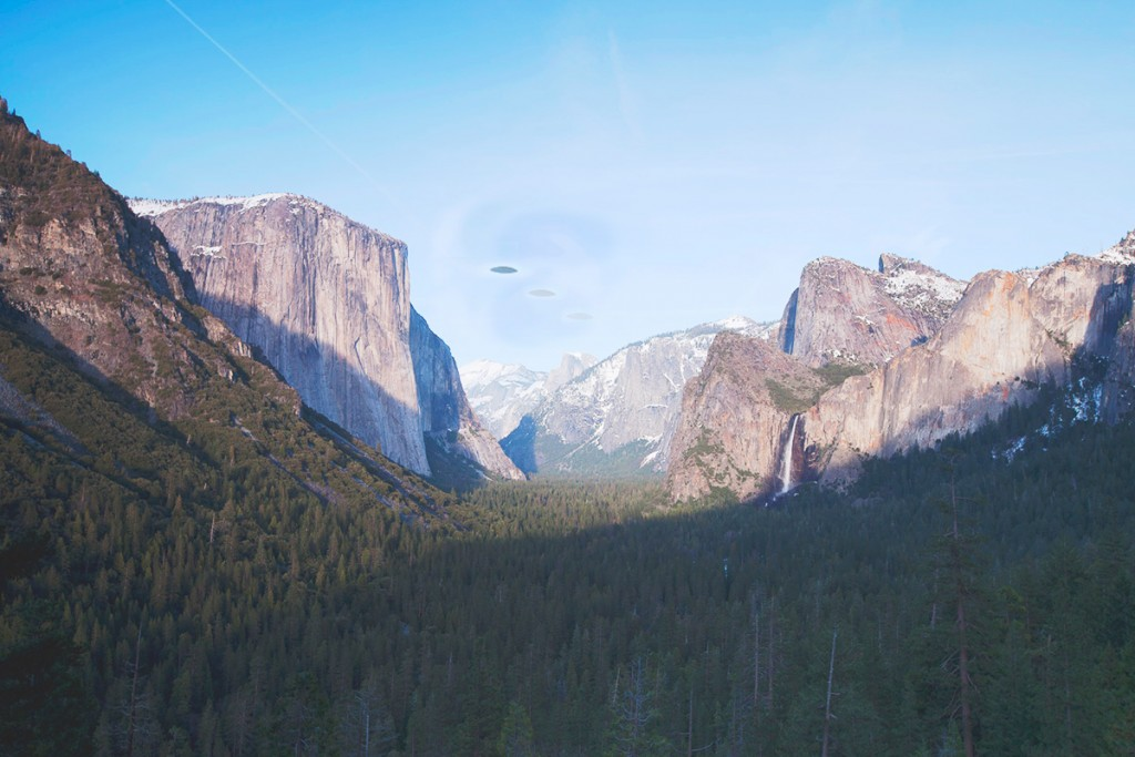 Tunnel View, Yosemite Valley, Yosemite National Park, Sierra Nevada, California. Objects appear by special licensing permission from far out friends of Steven Spielberg.