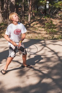 "Badminton Bliss, Family Camp, Watson's Walking ""G"" Summer Camp, Northern Sierra, California by David Leland Hyde."