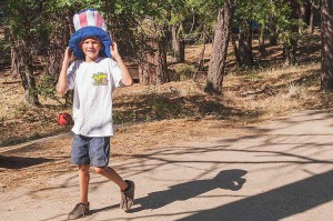 "Young Uncle Sam, Family Camp, Watson's Walking ""G"" Summer Camp, Northern Sierra, California by David Leland Hyde."