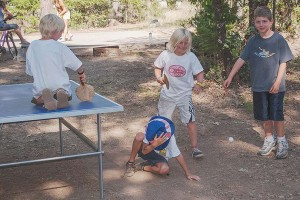 "Wrecking Uncle Sam With A Ping Pong Ball, July 4, Family Camp, Watson's Walking ""G"" Summer Camp, Northern Sierra, California by David Leland Hyde. (To See Larger Click on Image.)"