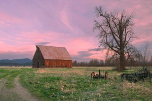 Cloudy Sunset, Olsen Barn, Lake Almanor Near Chester, California, Sierra, copyright 2015 David Leland Hyde. This photograph has been actively used by Feather River Land Trust in the Olsen Barn Campaign.