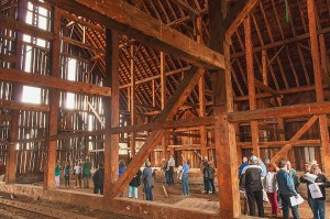 Feather River Land Trust Tour Group, Interior Olsen Barn Near Chester, California, copyright 2015 David Leland Hyde. (To see large, click on image.)