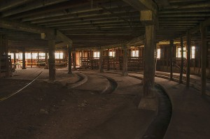 Milking Area, Interior, First Floor or Basement, Starke Round Barn Near Red Cloud, Nebraska, Midwest #Heartland United States by David Leland Hyde, 2015. (Click image to see large.)