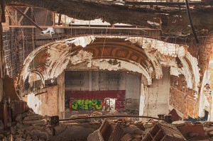 Stage From Balcony, Historic Eastown Theater, Detroit, Michigan by David Leland Hyde. Alas, the iconic theater is no more. It was demolished this year. My photograph may become historically significant someday, especially if I am one of the few to make prints.