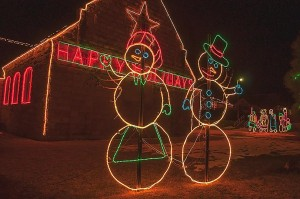 """Happy Holidays,"" Electric Snow Couple, Milford, Utah by David Leland Hyde 2009."