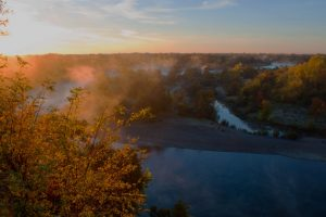 Dawn, American River From Fair Oaks Bluffs, Fair Oaks, California, 2012 by David Leland Hyde. This photograph was made at Uncle Clint's House the day of his Celebration of Life.